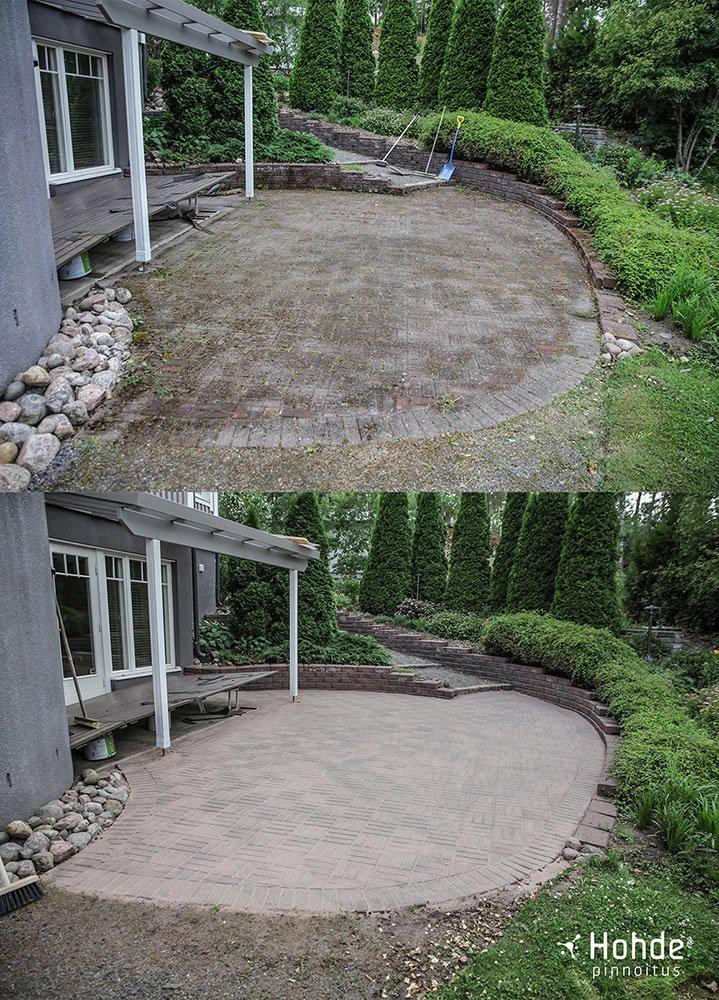 Pihakivetys ennen ja jälkeen Hohde-kivi käsittelyä