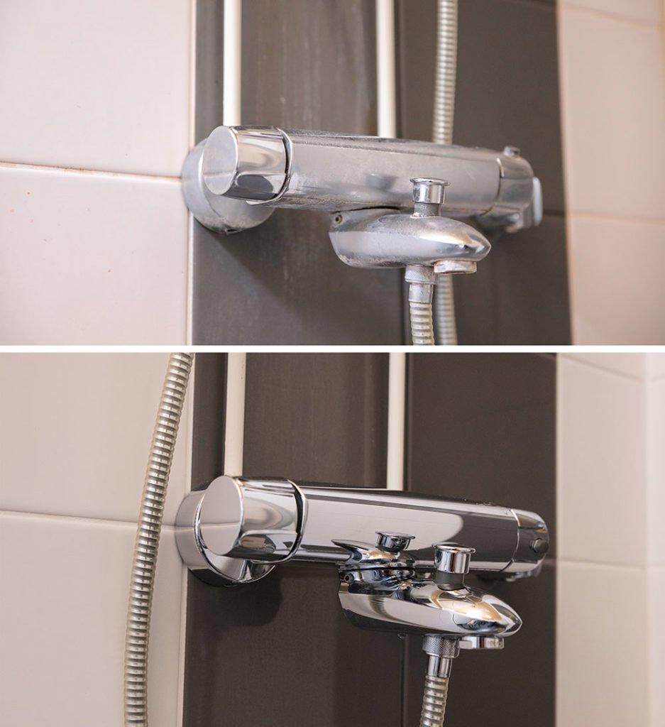 Kylpyhuoneen hana ennen ja jälkeen nanopinnoitusta