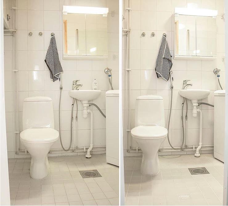 kylpyhuoneen wc-tila ennen ja jälkeen nanopinnoituksen